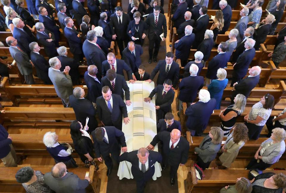 A funeral service was held for former State Auditor A. Joseph DeNucci at Our Lady Help of Christians Church on Wednesday.
