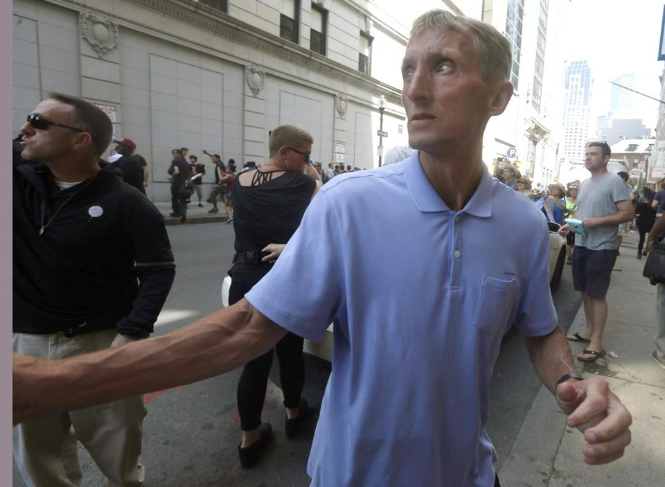 "Boston Police Commissioner William Evans watched counterprotesters near a ""free speech"" rally staged by conservative activists last month."