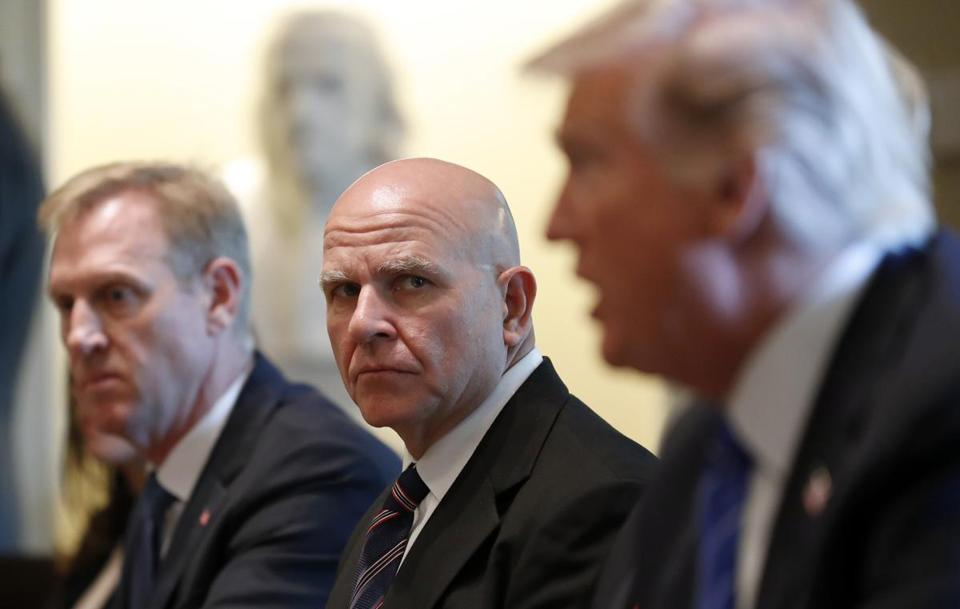 National security adviser H.R. McMaster (center) listened as President Trump spoke on Tuesday.