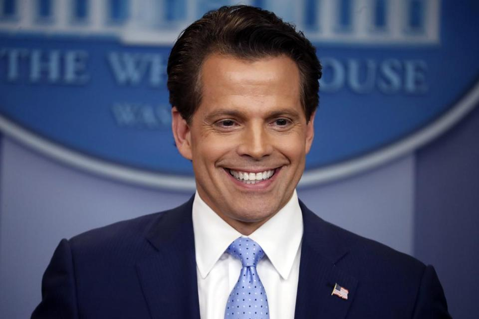 In this July, 21, 2017, file photo, New White House communications director Anthony Scaramucci speaks to members of the media in the Brady Press Briefing room of the White House in Washington.
