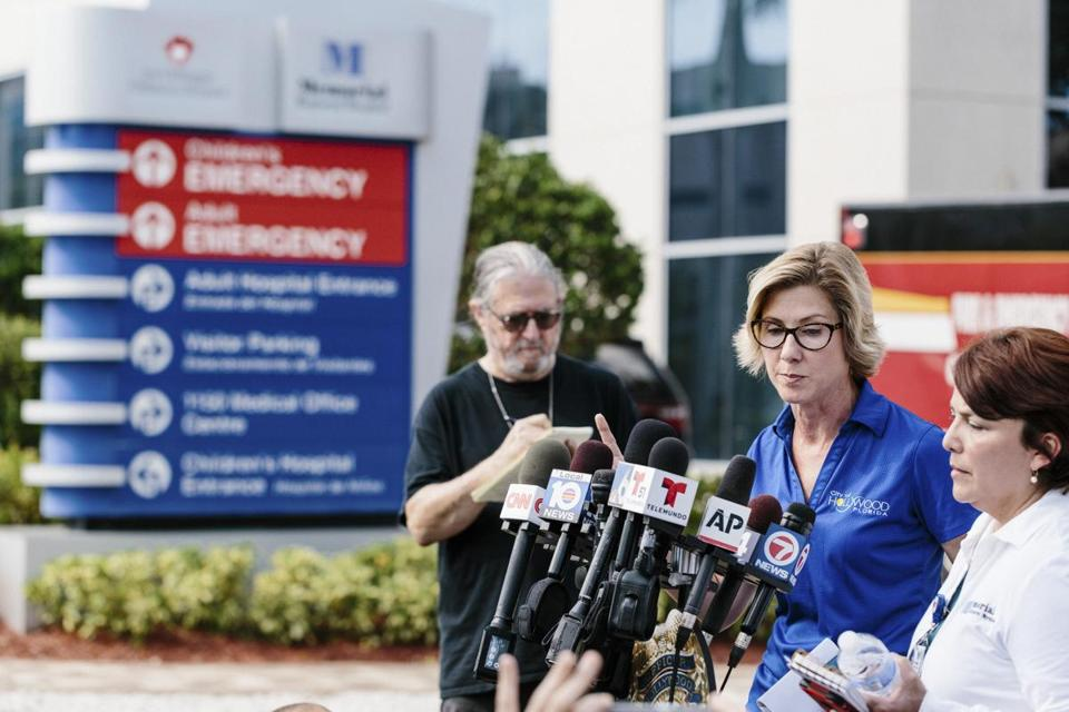 Raelin Story, public affairs director for the city of Hollywood, Fla., spoke at a news conference near the the Rehabilitation Center at Hollywood Hills on Wednesday.