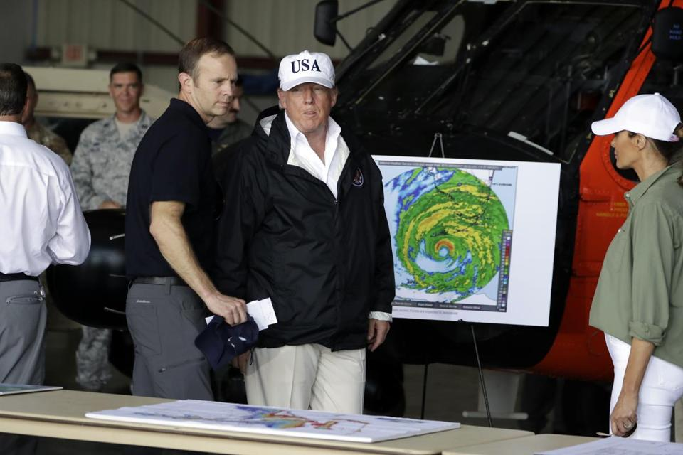 President Donald Trump and first lady Melania Trump participated in a briefing on the Hurricane Irma relief efforts, Thursday at Southwest Florida International airport.