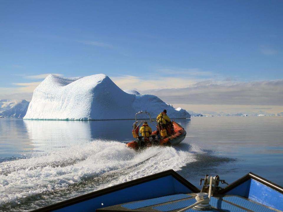 In an undated handout photo, researchers with the British Antarctic Survey on their morning commute in Antarctica. Their work is designed to reveal how microscopic species cope with rising ocean temperatures. (Gail Ashton via The New York Times) -- NO SALES; FOR EDITORIAL USE ONLY WITH SCI OCEAN HEAT BY CARL ZIMMER FOR SEPT. 5, 2017. ALL OTHER USE PROHIBITED. --
