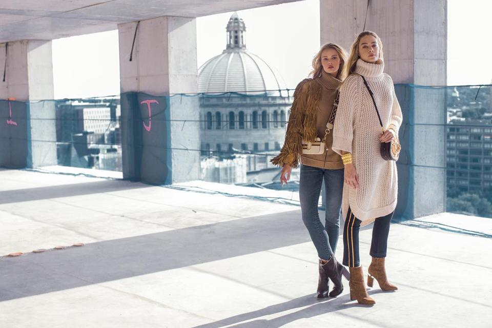 Left, on Anna: Jed sweater, $795 at LuxCouture; Acynetic jeans, $198 at LuxCouture; Jarbo jacket, $895; Alexander Wang leather boots, $695 at Nordstrom; Marc Jacobs cross-body bag, $350 at Saks Fifth Avenue. Right, on Ray: Chloe sweater, $1,395 at Saks Fifth Avenue; Veronica Beard jeans, $298 at Nordstrom; Chloe bag, $2,190 at Saks Fifth Avenue; Saint Laurent boots, $1,094 at Saks Fifth Avenue; vintage Yves Saint Laurent gold cuff bracelets, $700 each at Twentieth Century Limited; Halogen gold hoops, $35 at Nordstrom.