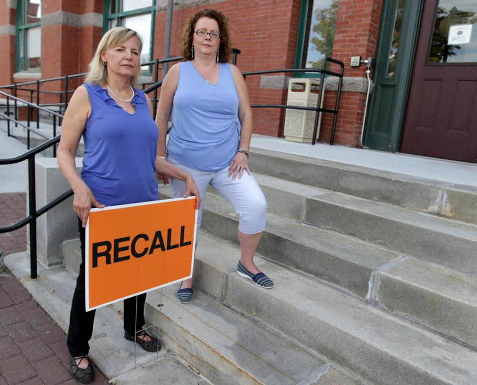 09/15/2017 Stoughton Ma -Deborah J. Sovinee (cq) left and Patricia Colburn (cq) right are part of a Recall effort aganist three of the towns Selectmen. Jonathan Wiggs\Globe Staff Reporter:Topic.