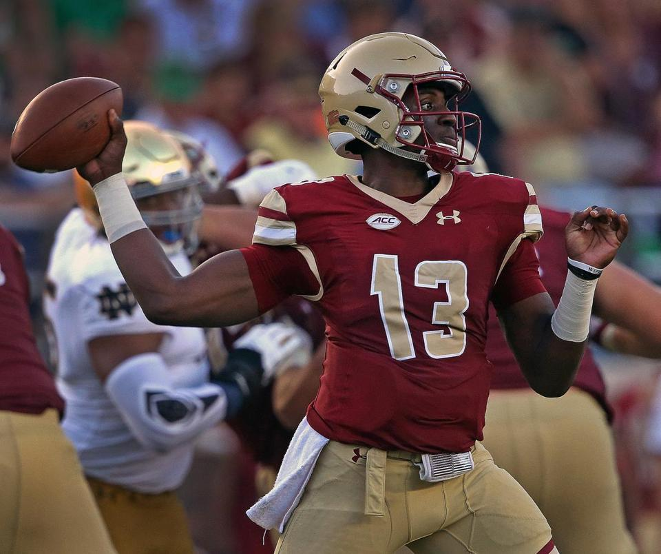Chestnut Hill, MA - 9/16/2017 - (4th quarter) Boston College Eagles quarterback Anthony Brown (13). Boston College Eagles vs. Notre Dame Fighting Irish at Alumni Stadium in Chestnut Hill. - (Barry Chin/Globe Staff), Section: Sports, Reporter: Julian Benbow, Topic: 17Notre Dame-BC, LOID:8.3.3714110596.