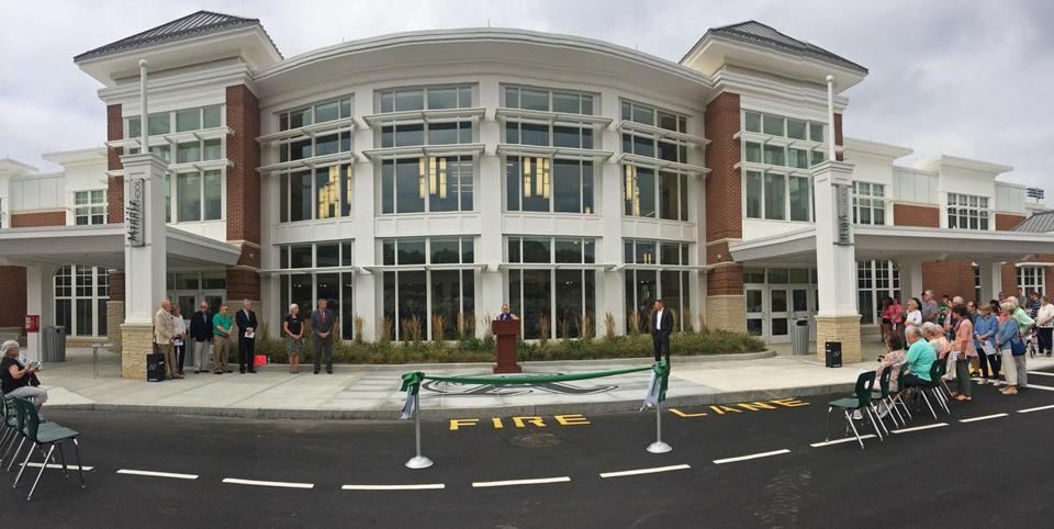 Abington, MA 09/16/17 Dedication / ribbon -cutting and open house for townspeople at the Pre-K, Middle and High School complex ....for SOWK.....( George Rizer for the Globe)...,,,Middle School,left...High School, right, opening ceremony