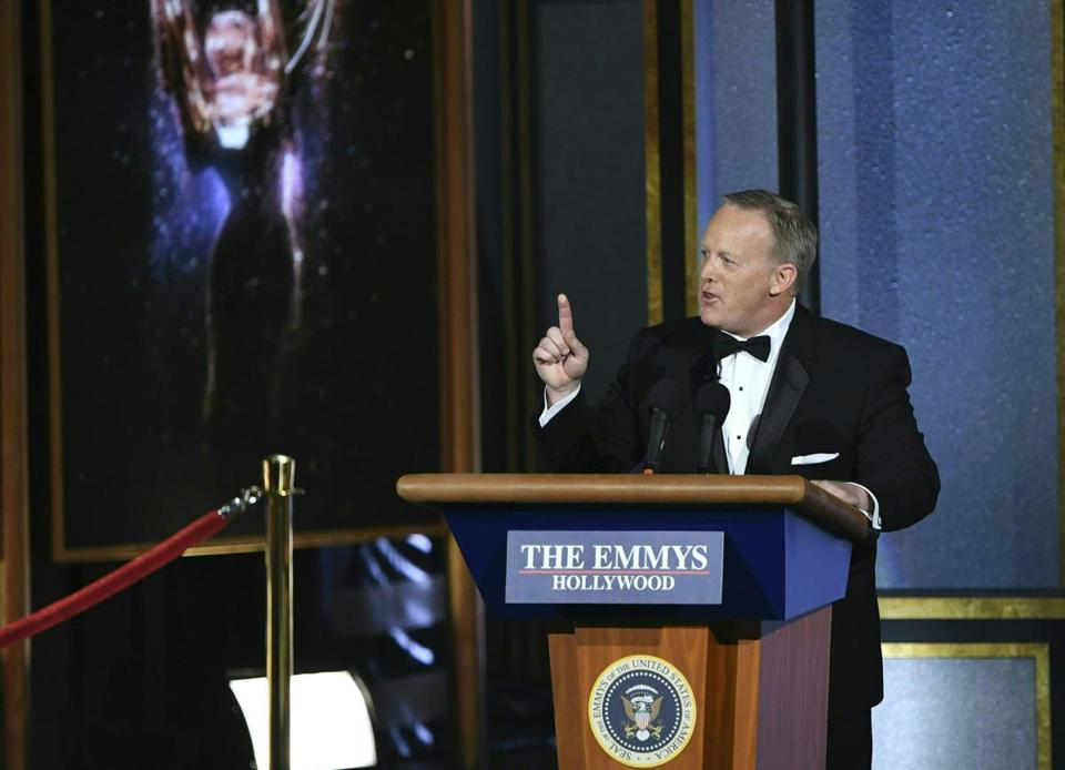 Former White House Press Secretary Sean Spicer speaks onstage during the 69th Emmy Awards at the Microsoft Theatre on September 17, 2017 in Los Angeles, California. / AFP PHOTO / Frederic J. BrownFREDERIC J. BROWN/AFP/Getty Images