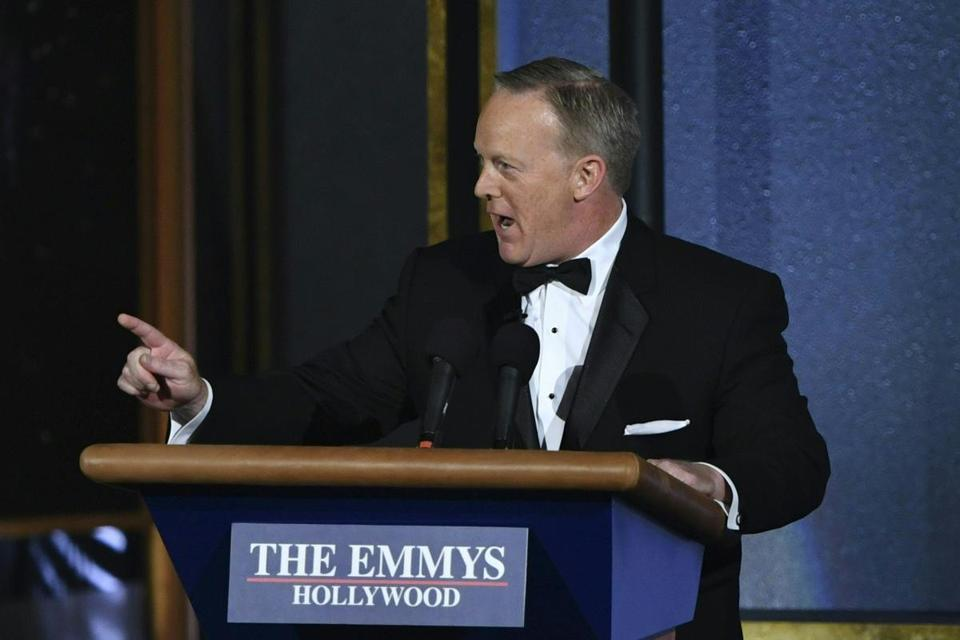 Former White House press secretary Sean Spicer spoke Sunday during the Emmy Awards in Los Angeles.