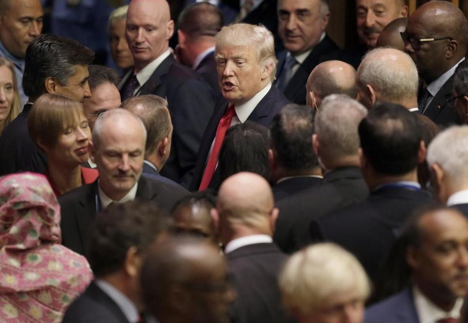United States President Donald Trump makes his way through diplomats and others after a meeting during the United Nations General Assembly at U.N. headquarters, Monday, Sept. 18, 2017. (AP Photo/Seth Wenig)