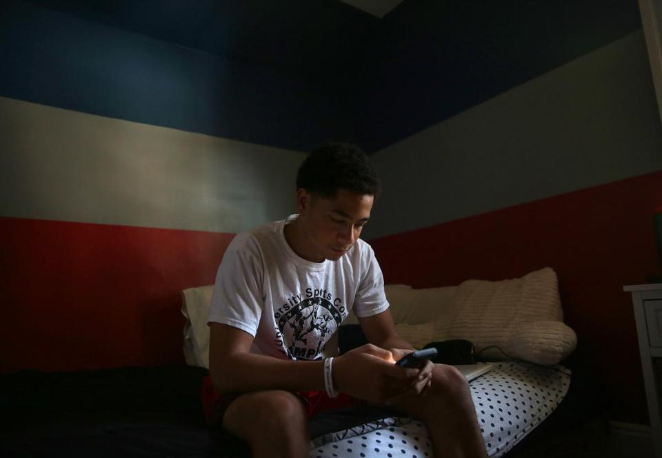 Isaiah Ramsey texted his mom from his Patriots-themed bedroom. Stephanie Ramsey, not pictured, and her 15-year-old son, Isaiah Ramsey, routinely text each other while both are at home.