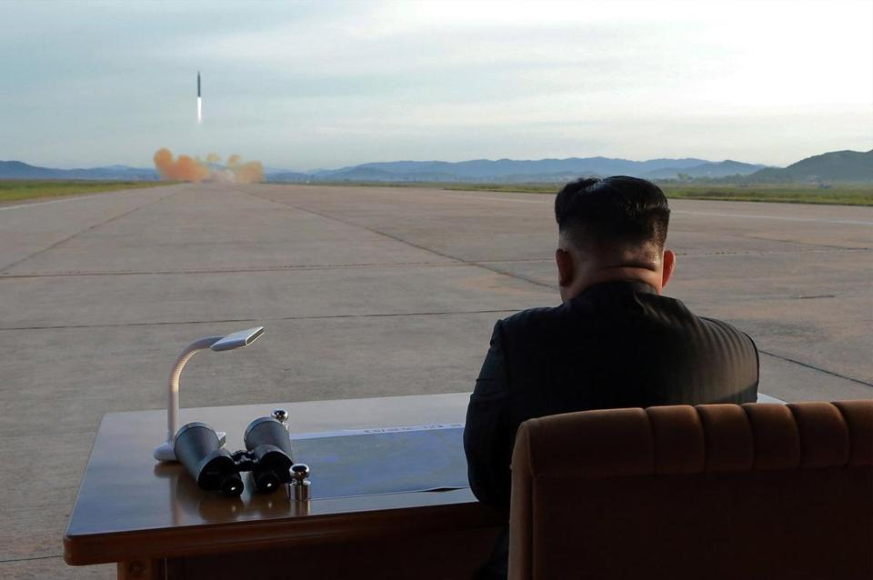 "A photo from the North Korean Central News Agency is said to show Kim Jong Un guiding the launch of a medium-to-long range missile. In a speech to the United Nations General Assembly, President Donald J. Trump again called Kim ""Rocket Man."""