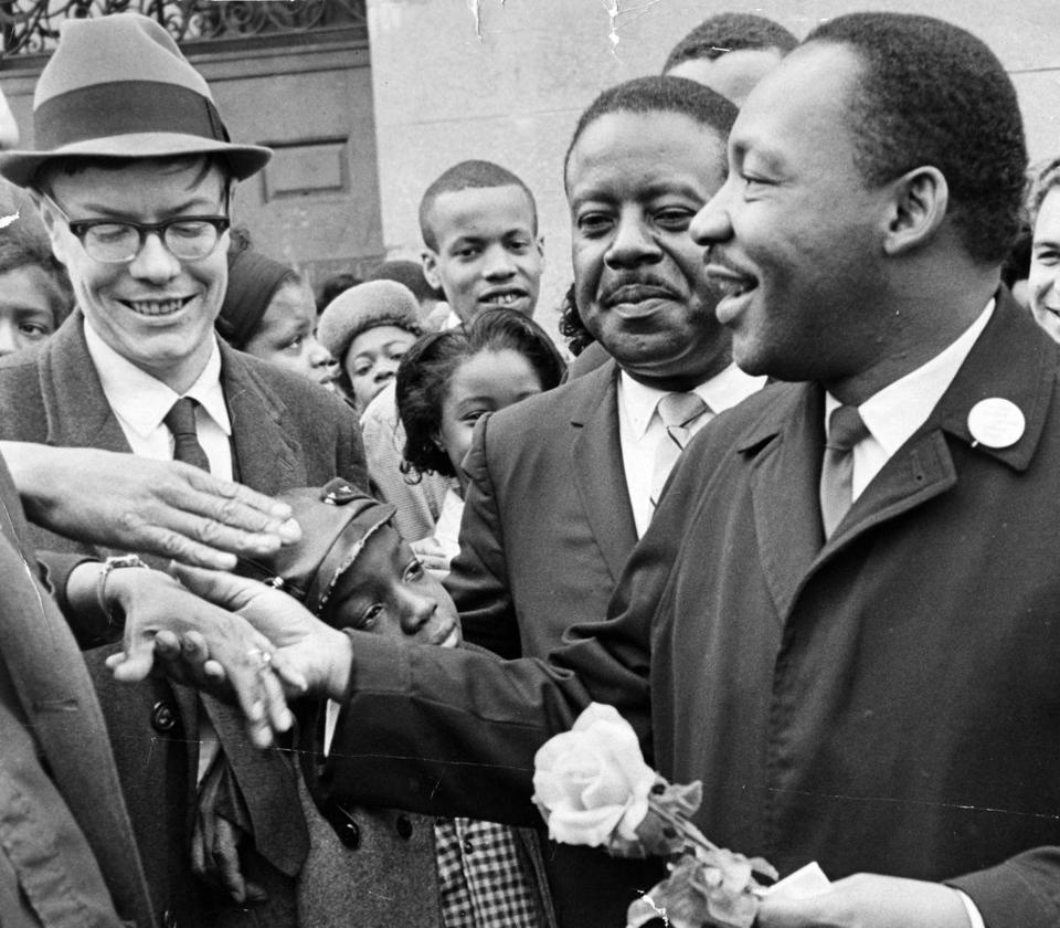 The Rev. Martin Luther King Jr. greeted a supporters in April 1965 during a match to on Boston Common. A memorial to the civil rights icon, who attended Boston University, could be placed on the Common or elsewhere in the city.
