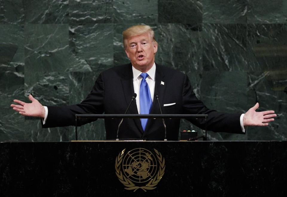 President Donald Trump gave his first speech as president to the United Nations General Assembly on Tuesday.