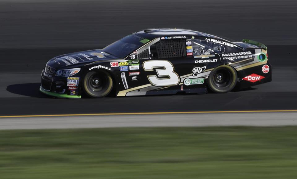 Austin Dillon practices for the NASCAR Cup Series 300 auto race at New Hampshire Motor Speedway in Loudon, N.H., Saturday, Sept. 23, 2017. (AP Photo/Charles Krupa)