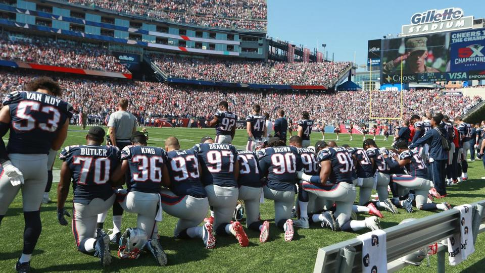 Patriots players took a knee during the National Anthem before their game against the Houston Texans last month.