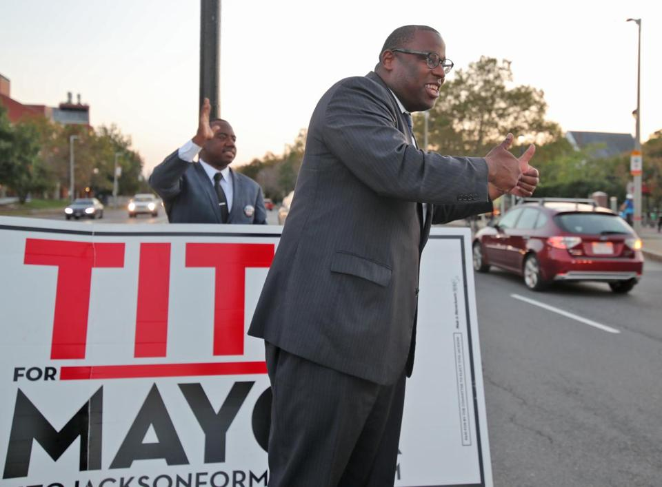 Boston MA 9/25/17 Tito Jackson a candidate for Boston Mayor campaigning on the corner of Malcolm X Blvd and Tremont Street. (Photo by Matthew J. Lee/Globe staff)