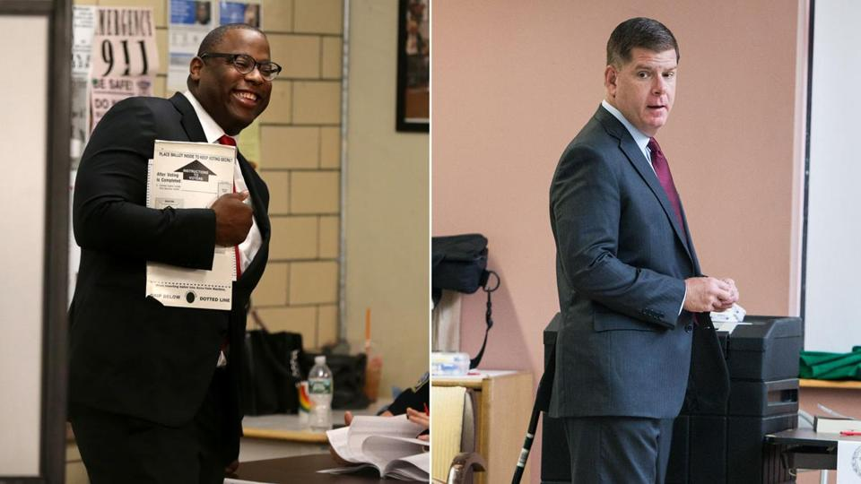 Tito Jackson (left) and Mayor Martin J. Walsh cast their votes in Tuesday's preliminary election.