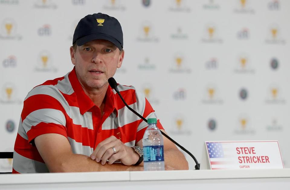 JERSEY CITY, NJ - SEPTEMBER 26: Captain Steve Stricker of the United States Presidents Cup Team speaks to the media during a press conference prior to the Presidents Cup on September 26, 2017 at Liberty National Golf Club in Jersey City, New Jersey. (Photo by Sam Greenwood/Getty Images)