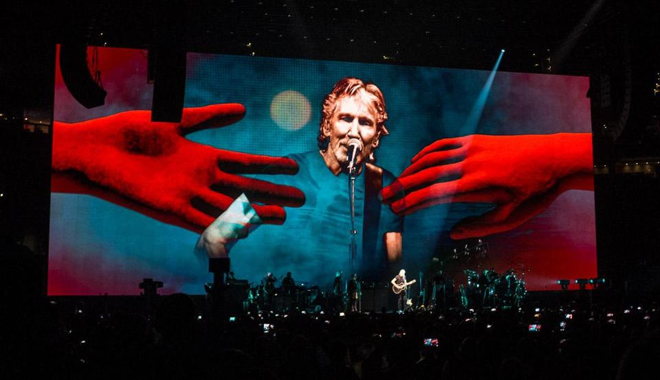 Roger Waters on stage and screen during Wednesday's show at TD Garden.