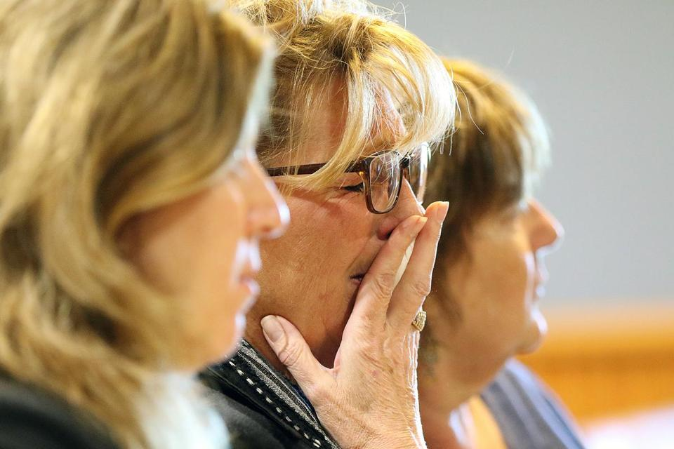 Diana McEvoy, the victim's mother, reacted during the sentencing hearing of Carlos Hunter at Lawrence Superior Court.