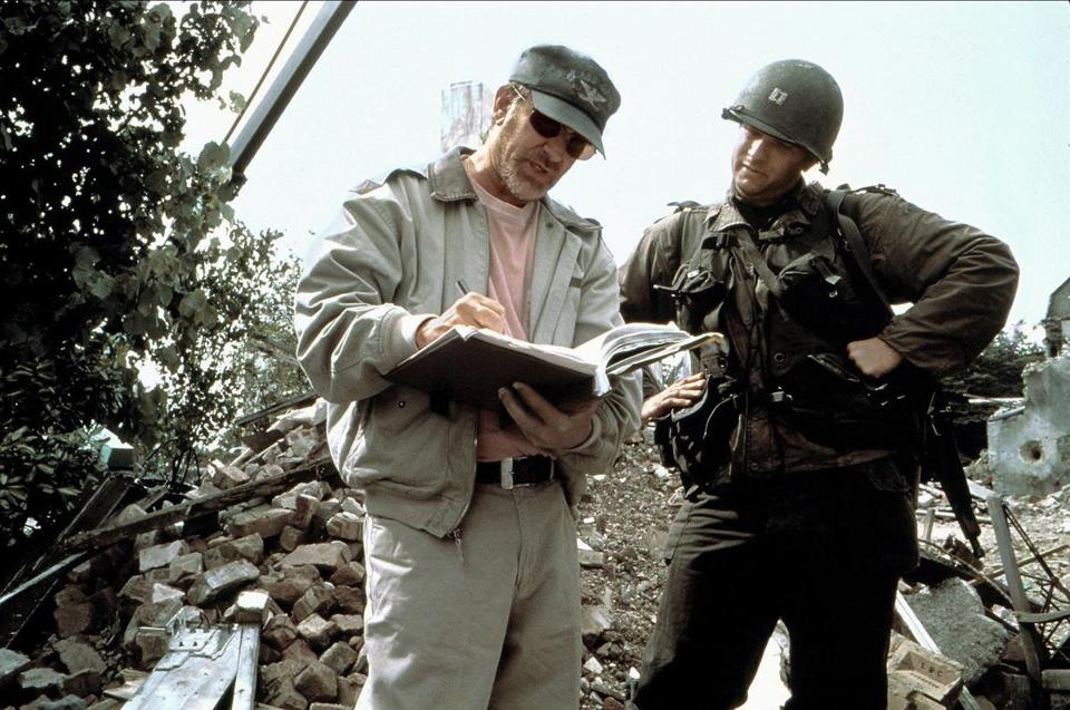 "HBO's documentary ""Spielberg"" includes this image of Steven Spielberg with Tom Hanks on the set of ""Saving Private Ryan."""