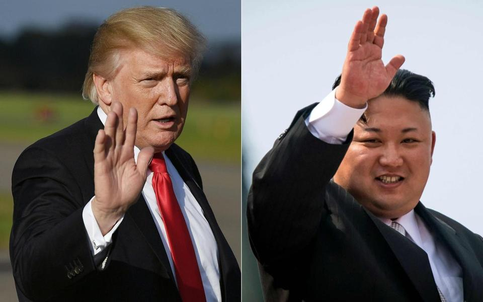 (COMBO) This combination of pictures created on October 1, 2017 shows, US President Donald Trump at Morristown, New Jersey, Municipal Airport on September 15, 2017; and North Korean leader Kim Jong-Un waving following a military parade in Pyongyang on April 15, 2017. Trump said on October 1, 2017, negotiating with North Korea over its nuclear program would be a waste of time, after it emerged that Washington had channels of contact with Pyongyang. Only hours after US Secretary of State Rex Tillerson revealed that US officials were in touch with North Korean counterparts, Trump undercut his top diplomat by declaring on Twitter that any talks would be futile. / AFP PHOTO / MANDEL NGAN AND ED JONESMANDEL NGAN,ED JONES/AFP/Getty Images