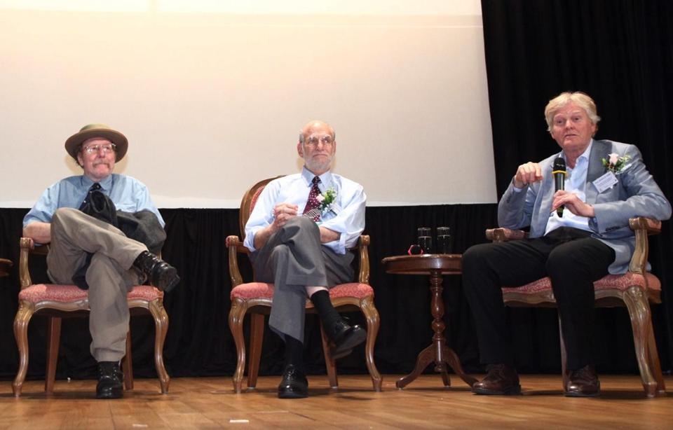 Jeffrey C. Hall (left), Michael Rosbash, and Michael W. Young (right).
