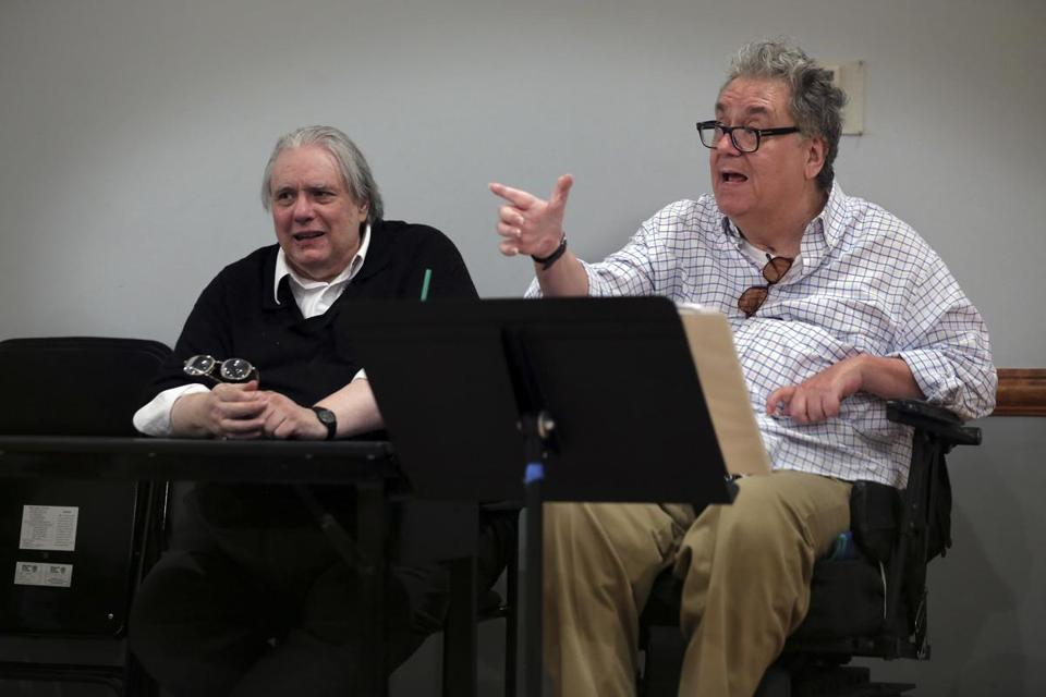 "Albert Innaurato (left) during cast rehearsals for ""Doubtless"" in July 2014."