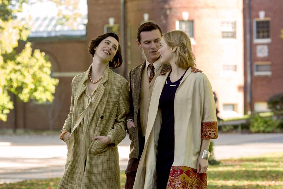 "Rebecca Hall (left), Luke Evans, and Bella Heathcote in ""Professor Marston and the Wonder Women."""