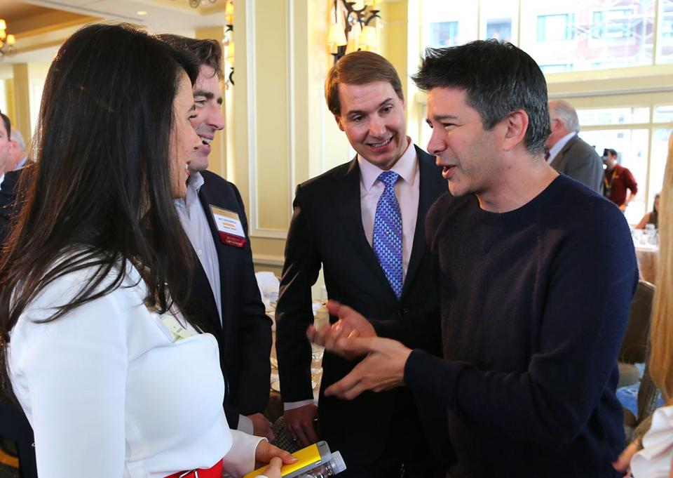 Boston-12/01/15- Uber CEO Travis Kalanick was the guest speaker at the Boston College CEO forum and luncheon at the Boston Harbor Hotel. Kalanick(rt) chats with Linda Pizzuti Henry, wife of Red Sox owner John Henry, Celtics owner Wyc Grousbeck and Mass Challege founder and CEO John Harthorne. Boston Globe staff photo by John Tlumacki(business)