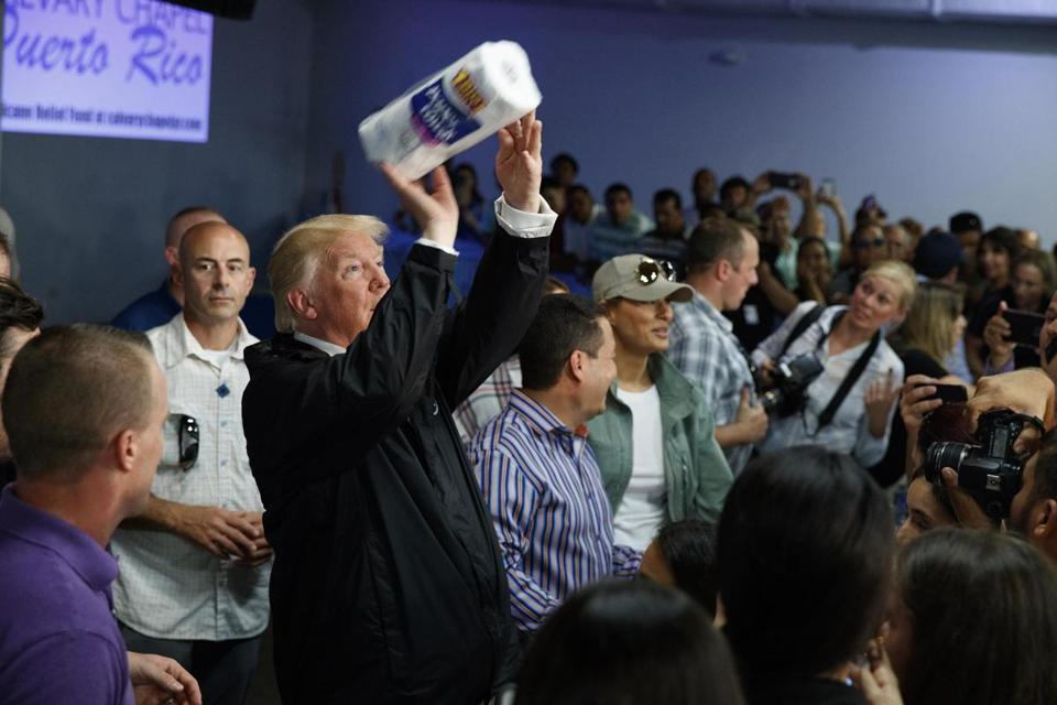 President Donald Trump tossed paper towels into a crowd in Puerto Rico.
