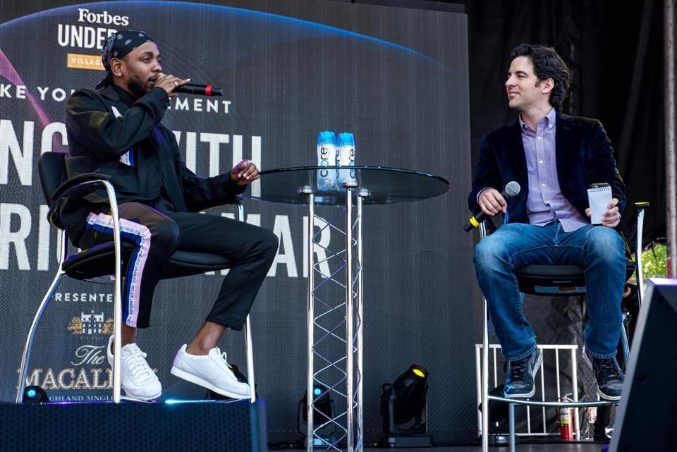 Kendrick Lamar with Zack O'Malley Greenburg, senior editor of Forbes Media.
