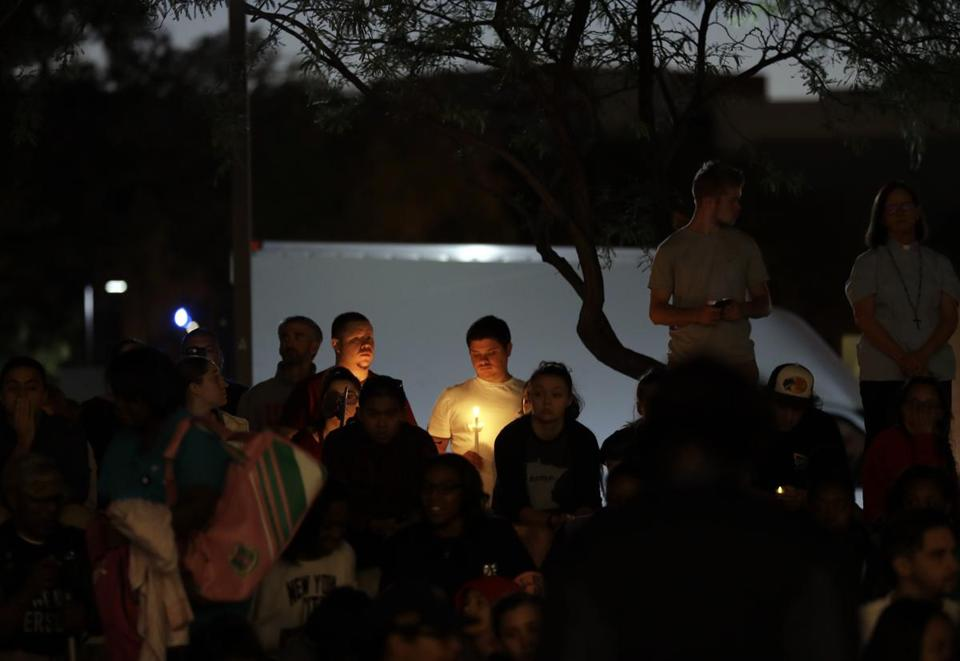Students from University of Nevada Las Vegas held a vigil Monday in Las Vegas.