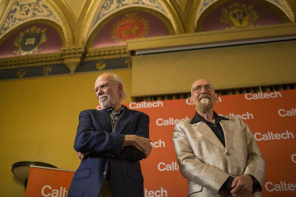 Caltech professors Barry Barrish (left) and Kip Thorne were interviewed Tuesday in Pasadena, Calif., after they were awarded the Nobel Prize for physics.