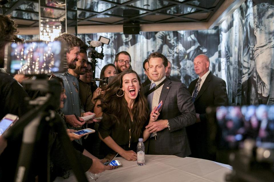 Anthony Scaramucci (center) held a launch party for his new media venture, the Scaramucci Post, on Monday in New York.