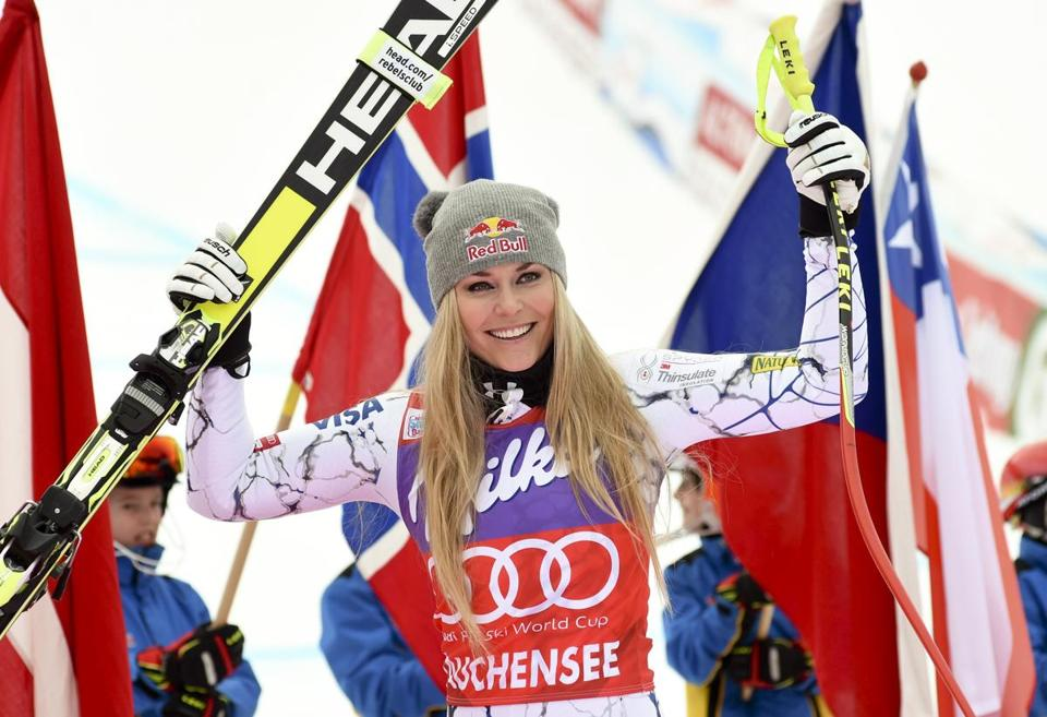 FILE - In this Jan. 9, 2016, file photo, Lindsey Vonn, of the United States, celebrates in the finish area after winning an alpine ski, women's World Cup downhill, in Altenmarkt-Zauchensee, Austria. Chasing the ski World Cup wins record next season, Lindsey Vonn will have another chance to master a rare race challenge: A two-run downhill. (AP Photo/Pier Marco Tacca, File)