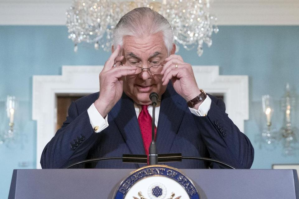 Mandatory Credit: Photo by MICHAEL REYNOLDS/EPA-EFE/REX/Shutterstock (9114668w) US Secretary of State Rex Tillerson delivers remarks at the State Department in Washington, DC, USA, 04 October 2017. Tillerson denied ever having considered resigning and that he fully supported President Trump's agenda. US Secretary of State Rex Tillerson delivers remarks, Washington, USA - 04 Oct 2017