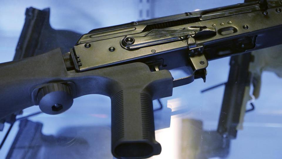 "A device called a ""bump stock"" was shown attached to a semiautomatic rifle at a gun store in Utah."