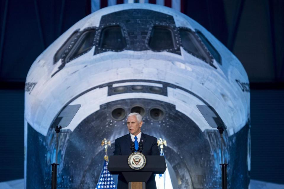 Vice President Mike Pence delivered opening remarks during the National Space Council's first meeting on Thursday.