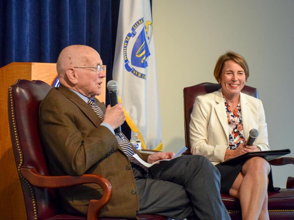 Levin H. Campbell chatted on stage with Attorney General Maura Healey.