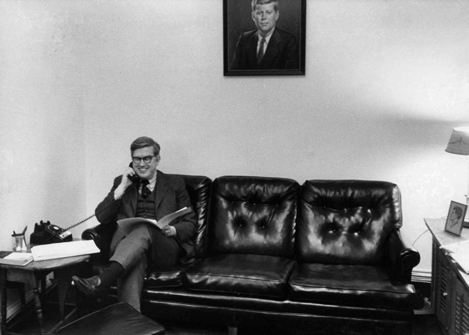 In 1971, Gerard F. Doherty talked on the phone under the watchful eye of a portrait of John F. Kennedy.