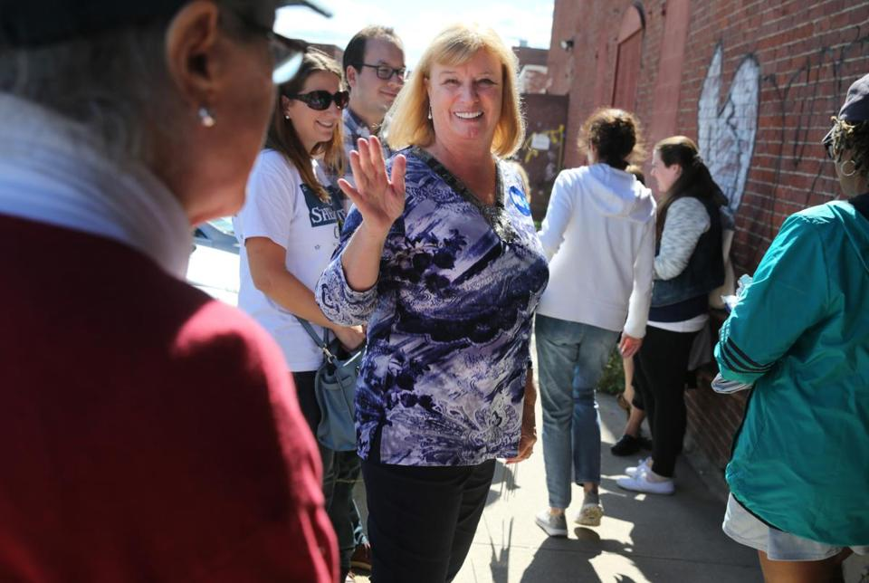 "Carol Shea-Porter talked with supporters during the Manchester ""New Hampshire Together"" Canvass Launch event in Manchester, N.H."