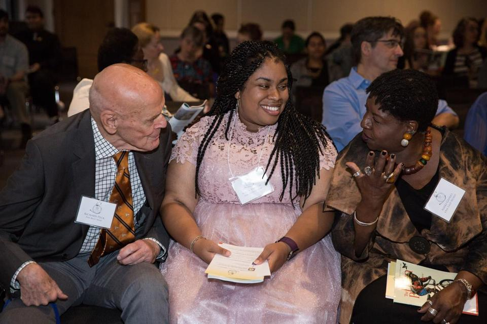 Angie Thomas (center) with Richard Peck and Nikki Grimes at the Boston Globe Horn Book Awards in October.