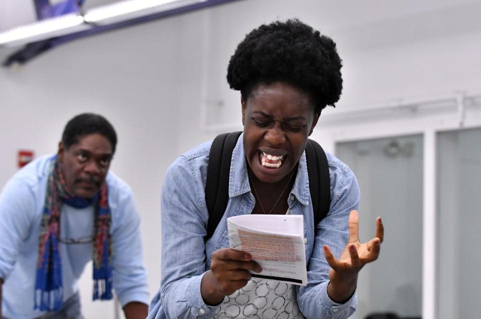 "Johnny Lee Davenport and Obehi Janice during rehearsal of ""Oleanna,"" a two-actor play, at New Rep Theatre in Watertown."