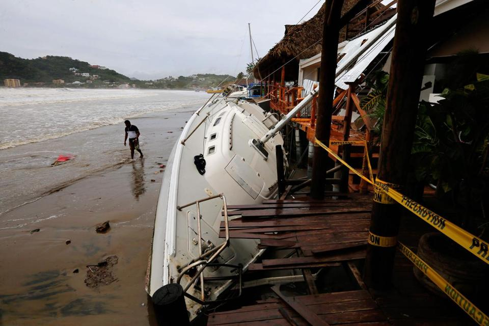 TOPSHOT - View of damages in San Juan del Sur beach, following the passage of Tropical Storm Nate, in Rivas, Nicaragua, on October 6, 2017. Tropical Storm Nate gained strength as it headed toward popular Mexican beach resorts and ultimately the US Gulf coast after dumping heavy rains in Central America that left at least 22 people dead. / AFP PHOTO / INTI OCONINTI OCON/AFP/Getty Images