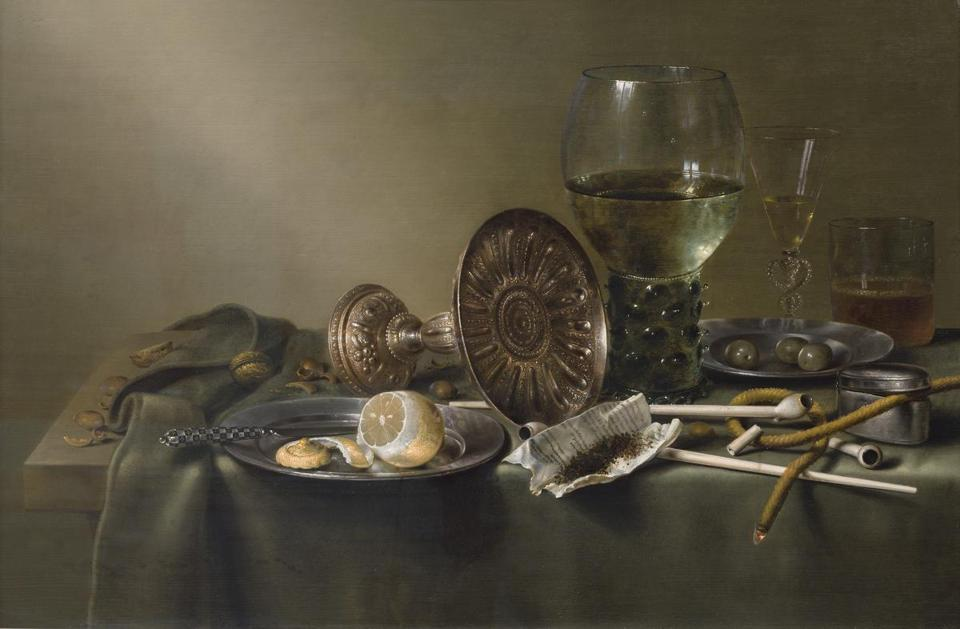 """Still Life with Glasses and Tobacco"" by Willem Claesz."