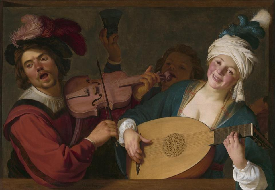 A Merry Group behind a Balustrade with a Violin and a Lute Player Gerrit van Honthorst (Dutch, 1590Ð1656) about 1623 Oil on canvas * Rose-Marie and Eijk van Otterloo Collection * Courtesy Museum of Fine Arts, Boston 12dutchgift
