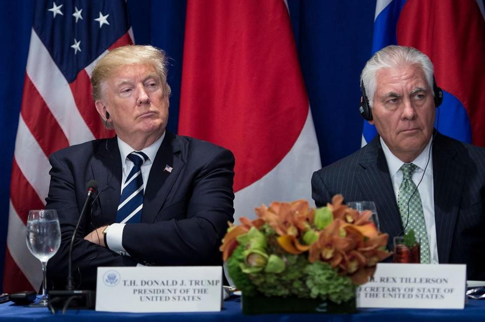 President Donald Trump and Secretary of State Rex Tillerson listening to statements before a luncheon with US, Korean, and Japanese leaders at the Palace Hotel during the 72nd United Nations General Assembly in New York City, Sept. 21.