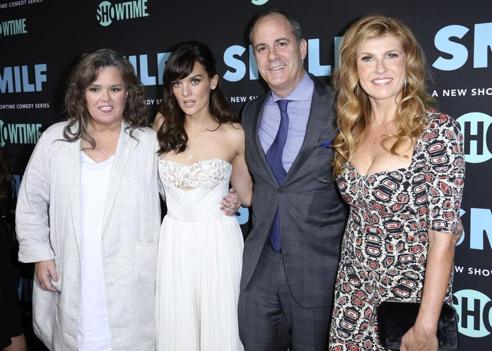 "From left: Rosie O'Donnell, Frankie Shaw, Showtime CEO David Nevins, and Connie Britton at the Los Angeles premiere of ""SMILF."""